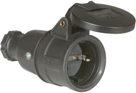 Gummikupplung mit Klappdeckel, IP44, 16A, 250V, Vollgummi