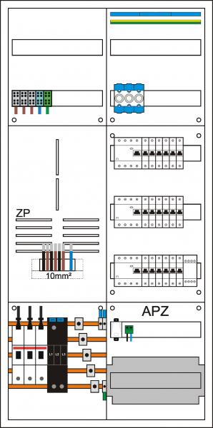Zählerschrank 3HZ, 1 Zählerpl. (3HZ), 1 Verteiler 5-reihig + APZ + N/PE Schiene