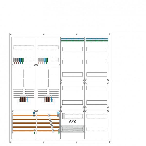 2 Zählerplätze, 2 Verteiler 7 reihig, APZ, Maße: (H x B x T) 1150 x 1050 x 210 mm