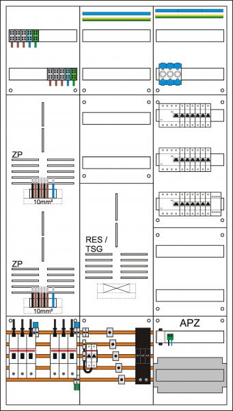 Zählerschrank 3HZ, 2 Zählerpl. (3HZ), 1 TSG-Platz (3-Pkt) ohne Bestück-ung und Verdr. 1 Verteiler