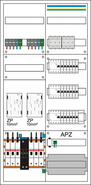 Zählerschrank eHZ, 2 Zählerpl. (eHZ), 1 Verteiler 5-reihig + APZ + N/PE Schiene,