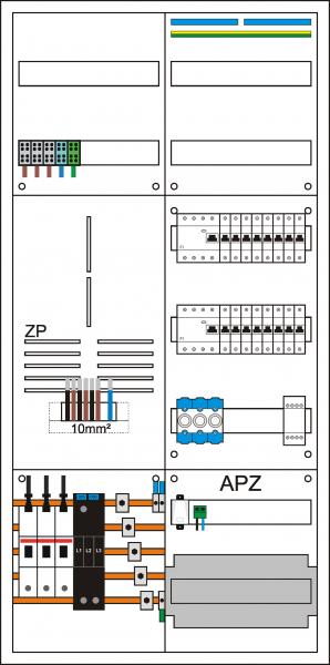 Zählerschrank 3HZ, 1' Zählerpl. (3HZ), 1 Verteiler 5-reihig + APZ + N/PE Schiene