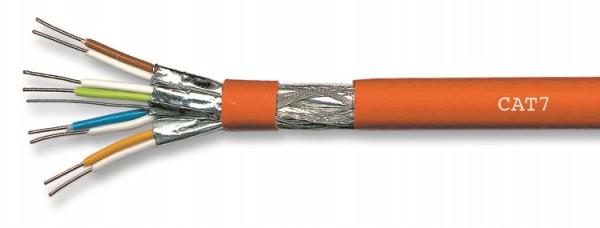 CAT 7 Simplex, 100m Ring, Farbe orange, incl. Kupfer