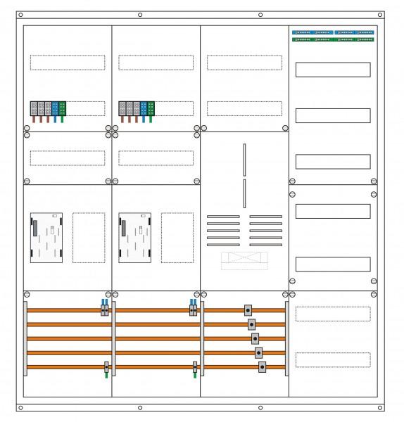 2 Zählerplätze, 2 Leerplatz, 1 TSG, 1 Verteiler Maße: (H x B x T) 1150 x 1050 x 210 mm