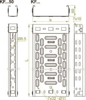 Kabelbühne 60 x 400 x 2000 VPE 8mtr., Bleckstärke 0.7mm