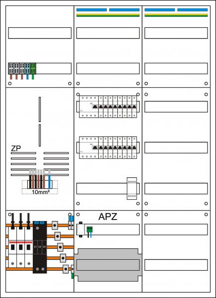 Zählerschrank 3HZ, 1 Zählerpl. (3HZ), 1 Verteiler 5-reihig + APZ + N/PE Schiene, 1 Verteiler 7-rei