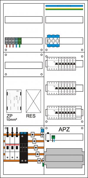 Zählerschrank eHZ, 1 Zählerpl. (eHZ), 1 Verteiler 5-reihig + APZ + N/PE Schiene