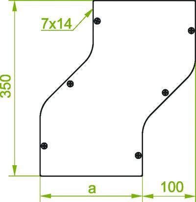 für Kabelrinne 100mm, Horizontale Umgehung